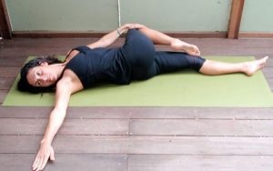 One Knee Twist Yogic Exercise